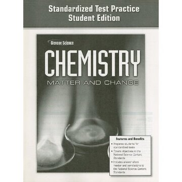portada glencoe chemistry standardized test practice: matter and change