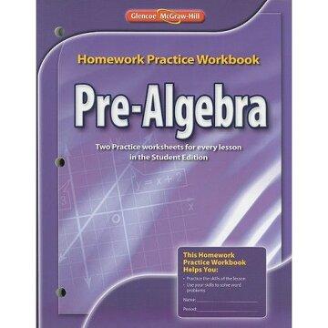 portada pre-algebra homework practice workbook