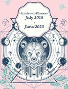 """Academic Planner July 2019-June 2020: Blue Bear and Pink Cover, July 2019-June 2020 Monthly,Daily Weekly Monthly Planner,Organizer,Agenda,12 Months July-June Calendar 246 Pages Large 8. 5"""" x 11"""" (libro en inglés)"""