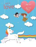 Fall in Love: July 2019-June 2020 Planner 8. 5 x 11: Blue sky Unicorn, Calendar Book July 2019-June 2020 Weekly (libro en inglés)