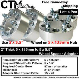 """4PC 1.5"""" THICK 5x135mm to 5x5.5"""" WHEEL ADAPTER SPACER FIT 14x2 STUD FORD LINCOLN (new)"""