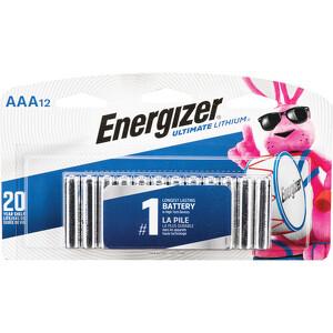 BHphotovideo.com - Energizer Ultimate Lithium AAA Batteries (1.5V, 1200mAh, 12-Pack)( 9-1475117-REG )